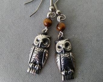 Owl and Tiger Eye Earrings