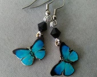 Blue Morpho Butterfly and Swarovski Crystal Earrings