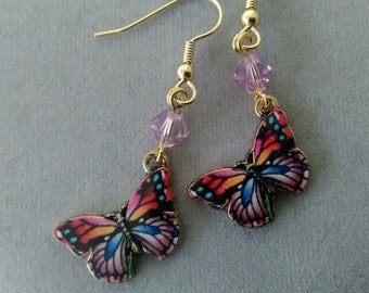 Lavender Rainbow Butterfly and Swarovski Crystal Earrings