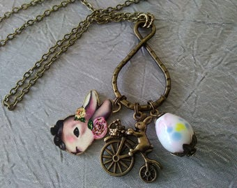 Vintage Style Easter Bunny Charm Necklace