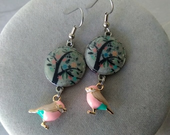 Colorful Tree and Bird Earrings
