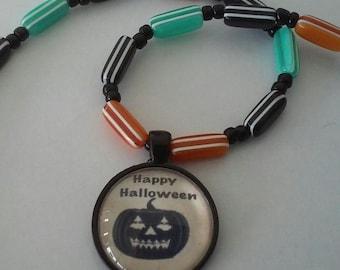 Happy Halloween Pumpkin Necklace