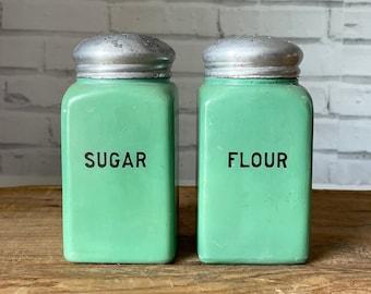 Pair Vintage Green Milk Glass Shakers