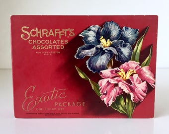 Vintage Schrafft's Chocolates Box Exotic Package