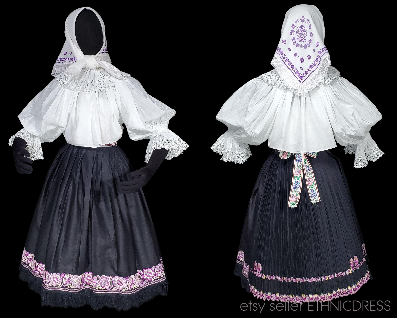 Vintage Scarf Styles -1920s to 1960s Vintage Folk Costume From Senica Region Slovakia  Traditional Ethnic Dress Embroidered Peasant Work Wear Apron Skirt Blouse Kerchief Kroj $550.00 AT vintagedancer.com