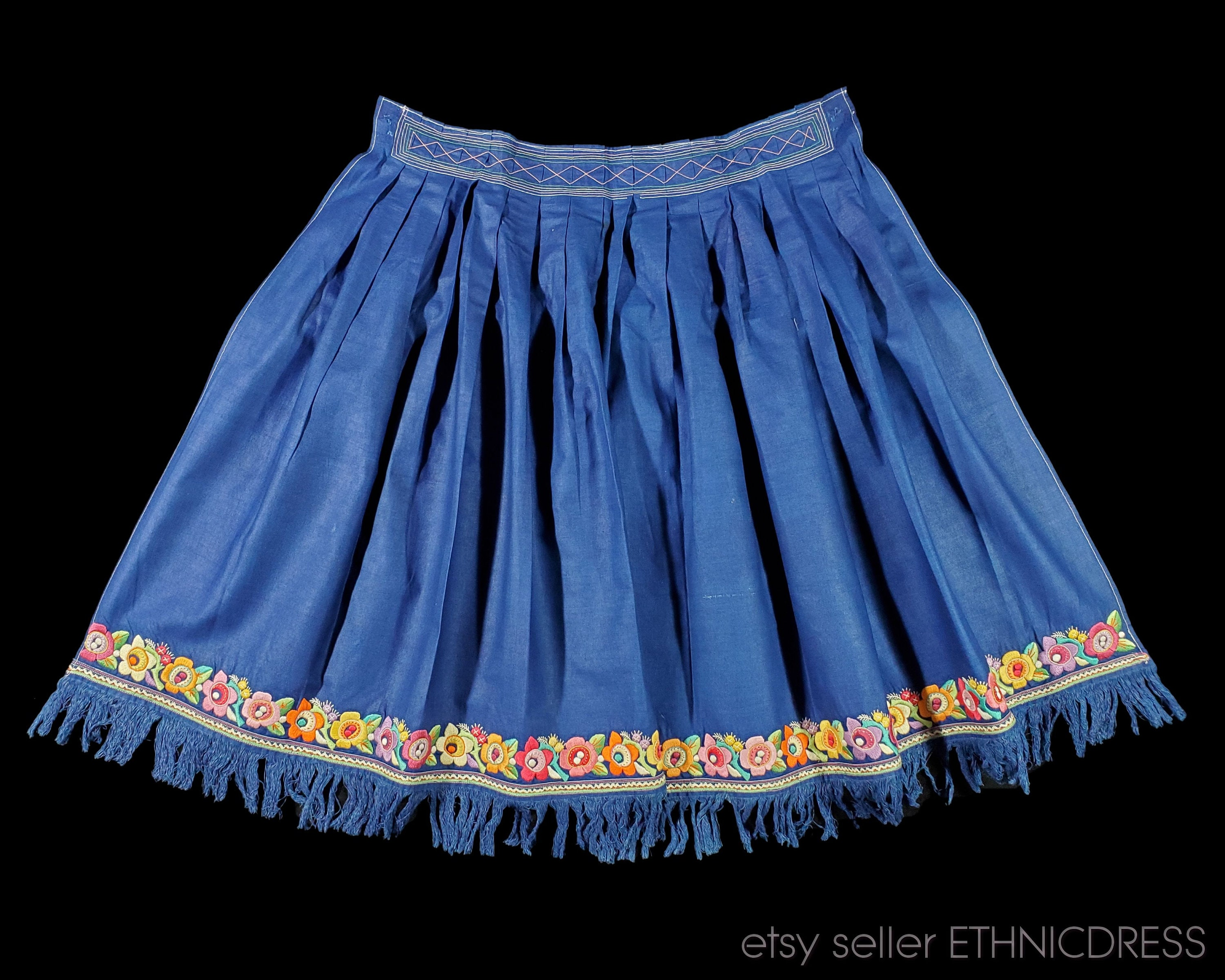 Vintage Aprons, Retro Aprons, Old Fashioned Aprons & Patterns Authentic Slovak Folk Costume From Western Slovakia  Zahorie Kroj Blue Cottom with Floral Embroidery Vintage Folklore Clothing Dress Ethnic $75.00 AT vintagedancer.com