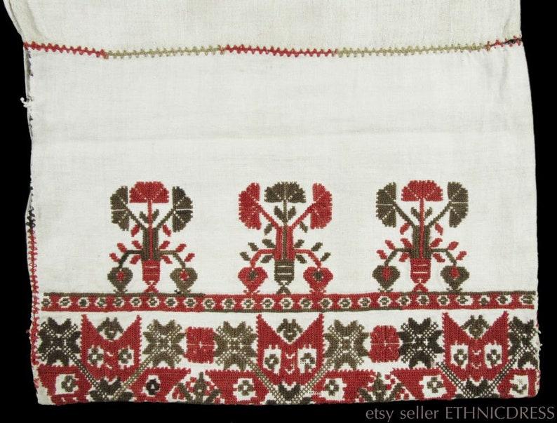 Antique 19th century hand-embroidered linen pillow case | old European  peasant textile folk art wool pattern rare | Hungarian Austria German