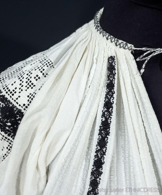 Vintage Croatian-Hungarian folk costume blouse fr… - image 3