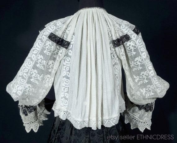 Vintage Croatian-Hungarian folk costume blouse fr… - image 2
