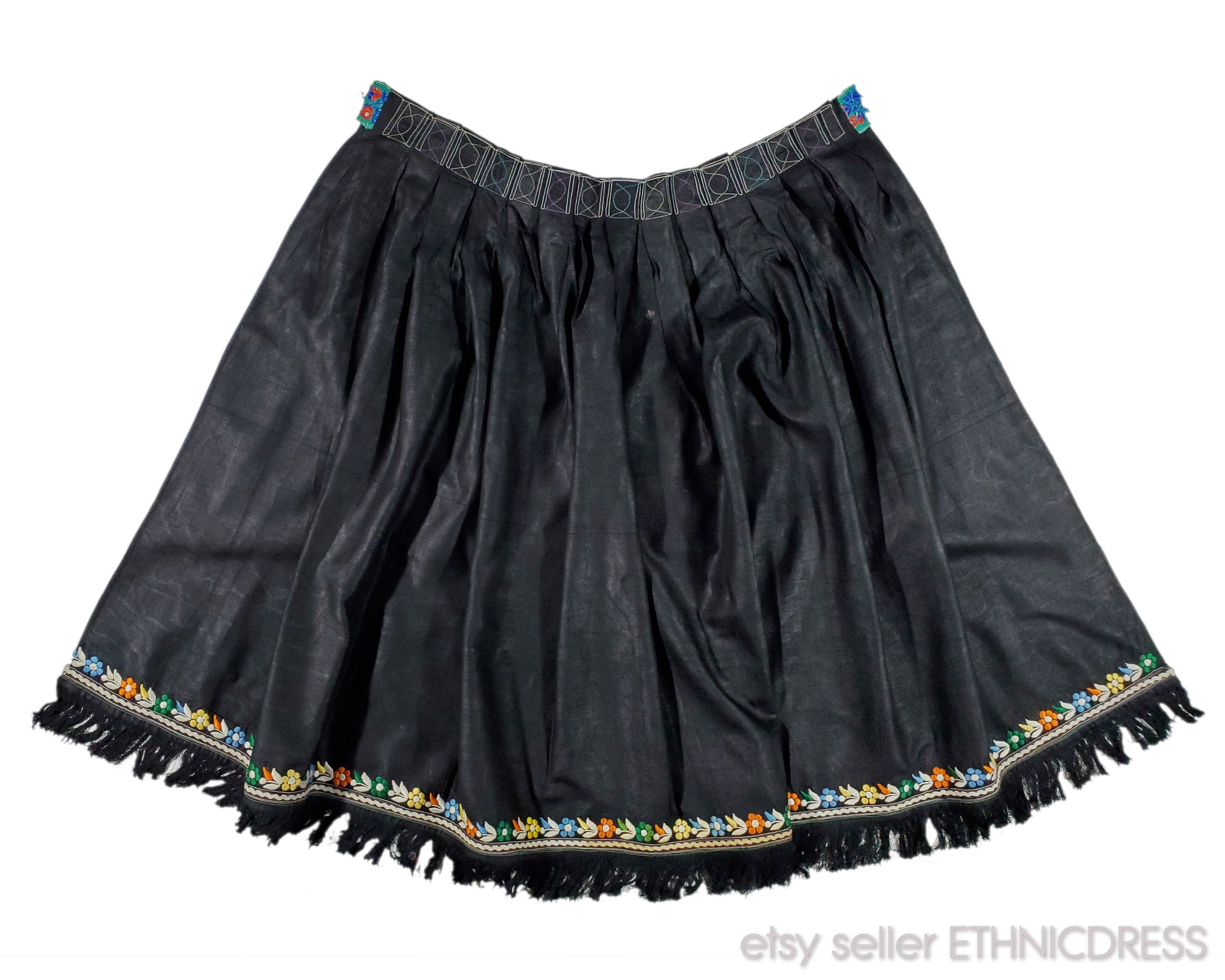 Vintage Aprons, Retro Aprons, Old Fashioned Aprons & Patterns Authentic Slovak Folk Costume From Western Slovakia  Zahorie Kroj Black Moire with Floral Embroidery Vintage Folklore Clothing Dress Ethnic $50.00 AT vintagedancer.com