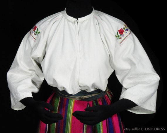 ANTIQUE hand-embroidered peasant blouse from Lowic