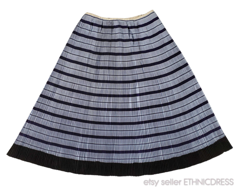 Vintage Aprons, Retro Aprons, Old Fashioned Aprons & Patterns Vintage Rusyn Folk Costume Skirt From Sumiac, Slovakia  Striped Blue Navy Wrap Ethnic Dress Traditional Peasant Clothing Slovak Kroj Art $85.00 AT vintagedancer.com