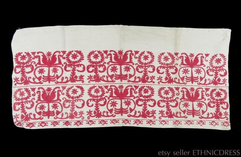 Antique 19th century hand-embroidered linen pillow case | European peasant  textile folk art rare handcraft | Hungarian Austrian German old
