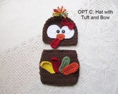 Crochet Turkey Hat and Diaper Cover - Baby Photo Prop - Baby Turkey Hat - Newborn Turkey Outfit - Thanksgiving - Avail in 0 to 6 Months
