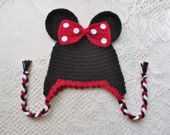 Red Trim Minnie Mouse Crochet Hat - Winter Hat or Photo Prop - Available in  Any Size or Color Combination 51f2a34710d