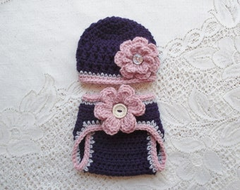 f7e9bf4df39 READY TO SHIP - 0 to 3 Month Size - Purple   Raspberry Crochet Baby Beanie  Hat and Diaper Cover - Baby Photo Prop - Baby Shower Gift