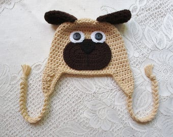 Pug Puppy Hat - Winter Hat - Photo Prop - Animal Hat - Crochet Puppy Hat -  Crochet Hat - Available in Any Size or Color Combination 0b8744ecc7c