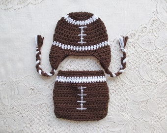 ed44c260036 Crochet Football Baby Hat and Diaper Cover - Baby Photo Prop - Baby Shower  Gift - Baby Hat - Available in 0 to 24 Months - Any Team Colors