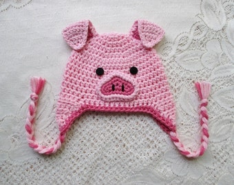 Crochet Pig Hat - Farm Animals - Winter Hat or Photo Prop - Available in  Any Size or Color Combination 6bc7e53b499