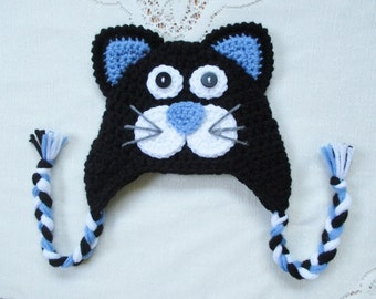 dfaeec37455 Black and Periwinkle Blue Kitty Cat Crochet Hat - Photo Prop - Available in  Any Size or Color Combination