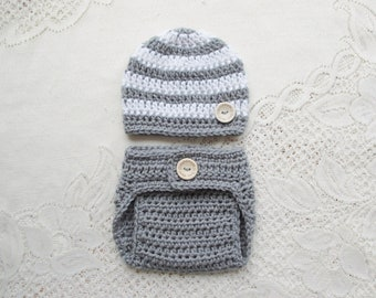 Light Grey and White Crochet Baby Beanie Hat   Diaper Cover - Baby Photo  Prop - Baby Shower Gift - Avail in 0 to 24 Months - Any Color Combo 25d717dacd95