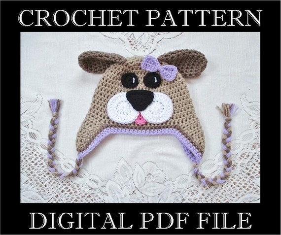PDF PATTERN Full Face Puppy Dog Crochet Hat Pattern  1bff12317b3