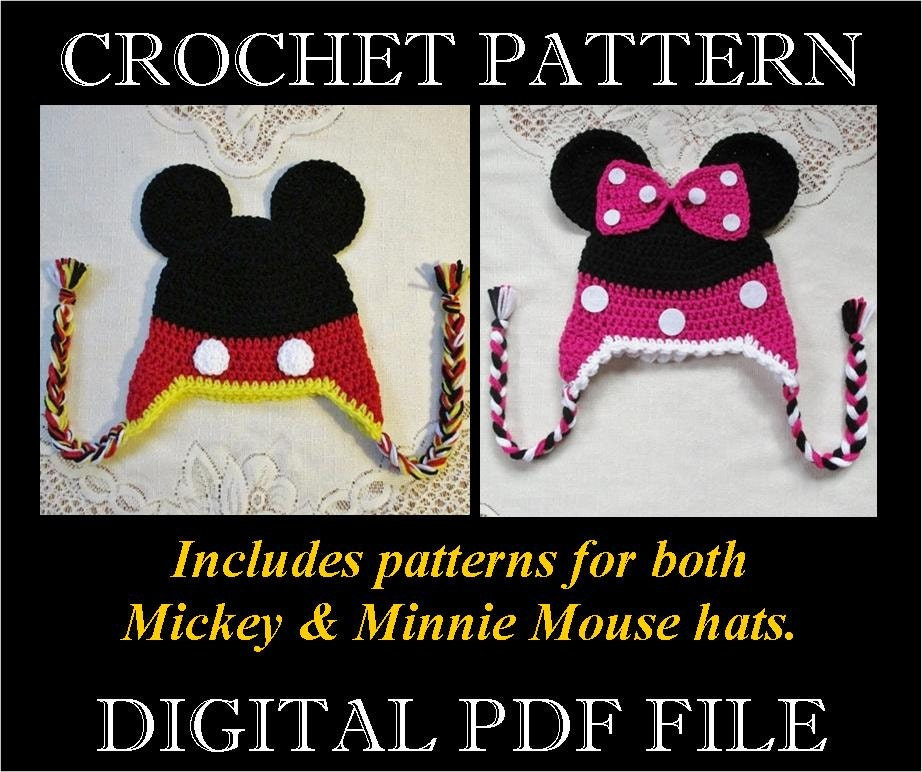 Pdf Pattern Mickey Minnie Mouse Inspired Crochet Hat Etsy