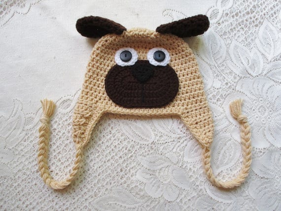 Pug Puppy Hat Winter Hat Photo Prop Animal Hat Crochet  fe16a818e155