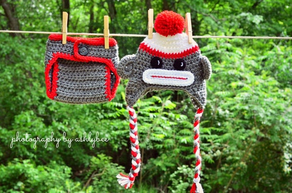 Baby Sock Monkey Crochet Hat and Diaper Cover Set Baby Photo  7c2a81f9b208