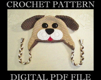 PDF PATTERN - Full Face Puppy Dog Crochet Hat Pattern