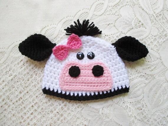 Crochet Cow or Bull Beanie Hat Farm Animals Winter Hat or  80dbea66dcf