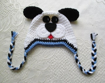 READY TO SHIP - 5 Year to Small Adult Size - White, Black and Periwinkle Blue Puppy Crocheted Hat - Winter Hat or Photo Prop