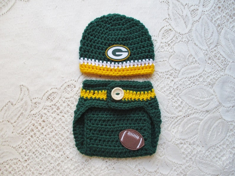 ccc939c8 Green Bay Packers Football Inspired Crochet Baby Hat and Diaper Cover -  Baby Photo Prop - Baby Shower Gift - Available in 0 to 6 Months