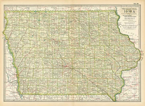 IOWA STATE U.S.A. map 1897 - Instant high resolution digital downloadable  file
