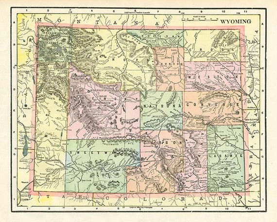 WYOMING STATE USA - High resolution downloadable file 1899 map