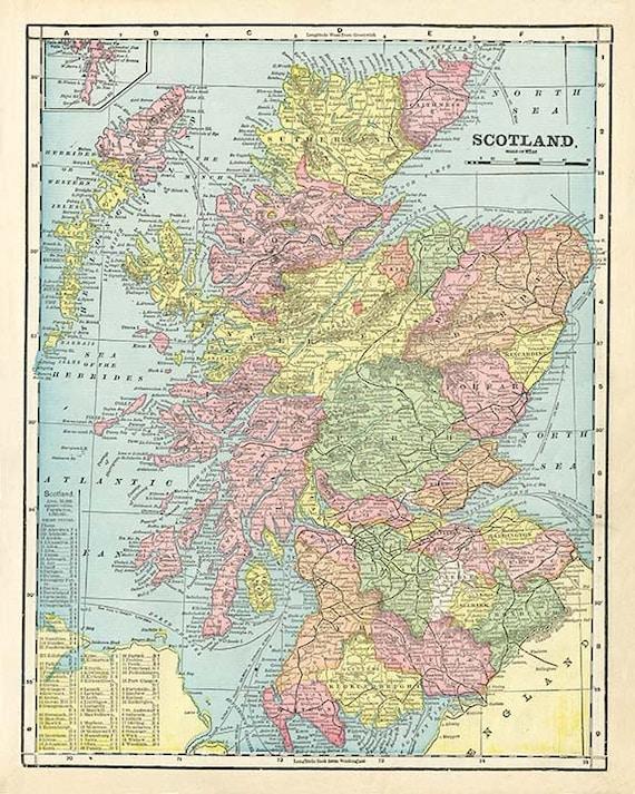 Scozia Cartina Dettagliata.Scozia Mappa In Alta Risoluzione File Scaricabile 1899 171 Etsy