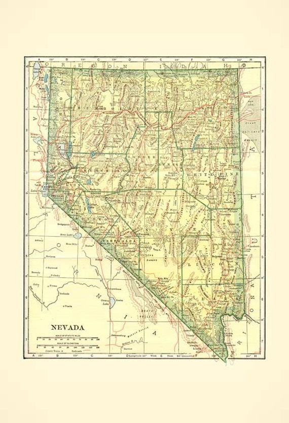 NEVADA STATE 1935 - MAP Instant Digital Download