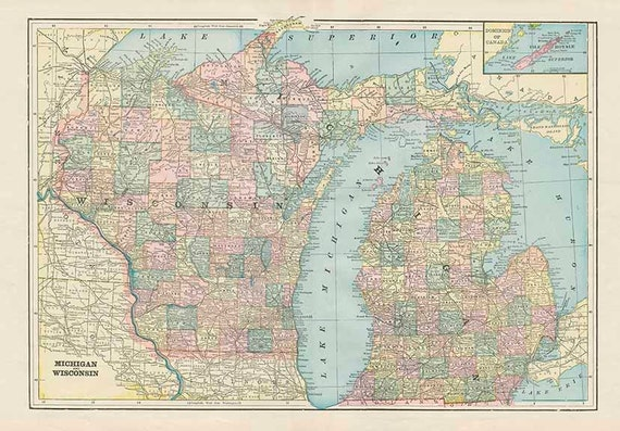 Michigan And Wisconsin State Usa Map High Resolution Etsy