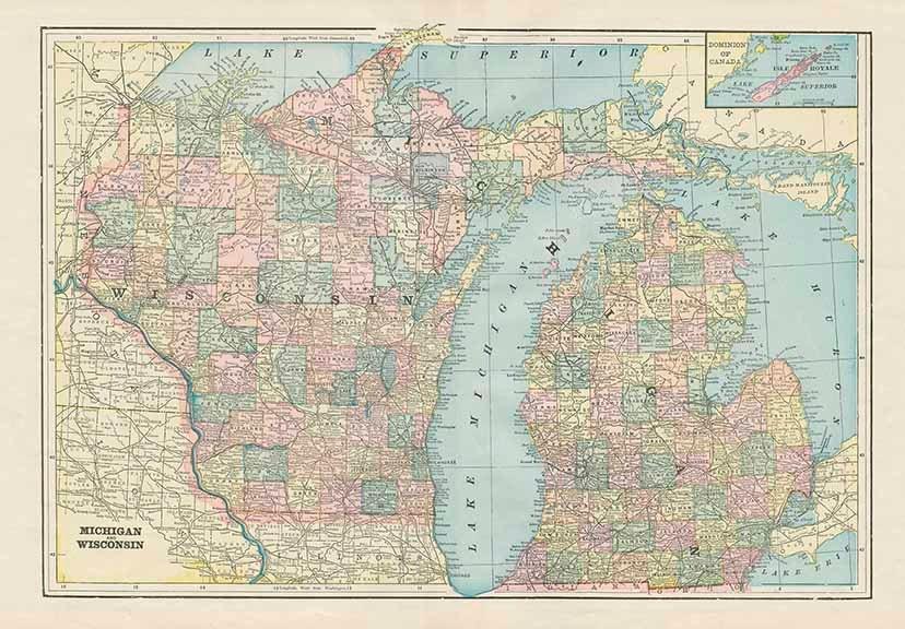 Michigan And Wisconsin Map.Michigan And Wisconsin State Usa Map High Resolution Etsy