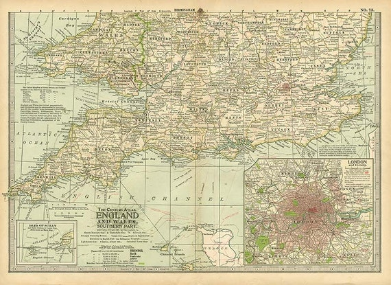 Map Of Southern England And Wales.England And Wales Southern Part 1897 Maps Instant Digital Downloadable File