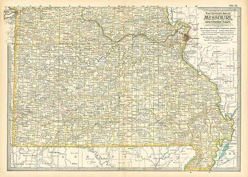 MISSOURI STATE [Southern Part] U.S.A. map 1897 - Instant high resolution  digital downloadable file