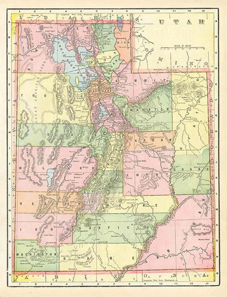 Utah State Map High Resolution Downloadable File 1899 Map