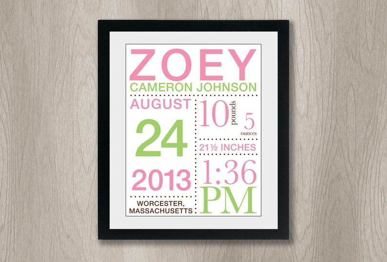Birth Announcement Print with Baby's Stats: You choose colors - (11x14)  nursery art, baby girl nursery, wall art