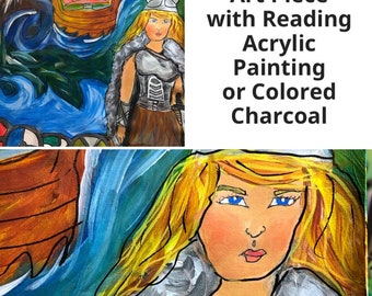 Reading with Personalized Painting or Colored Charcoal Drawing of a Scene From the Reading. Includes 20 min Voice Recording