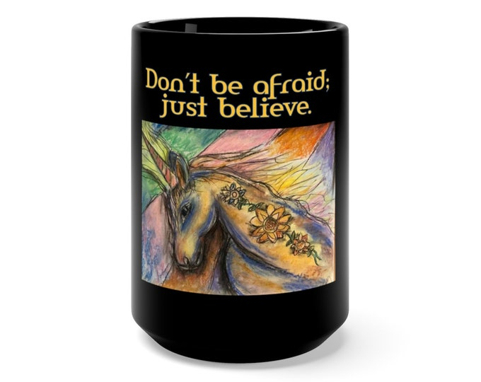 Featured listing image: Just Believe Black Mug 15oz