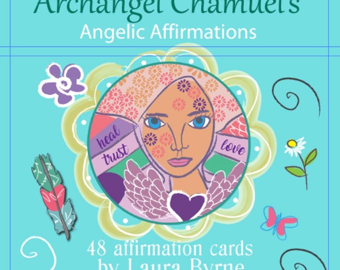 Featured listing image: Higher Self Affirmation Deck with Archangel Chamuel, 48 Card Deck,  Angel Reading, Psychic Reading, Reiki
