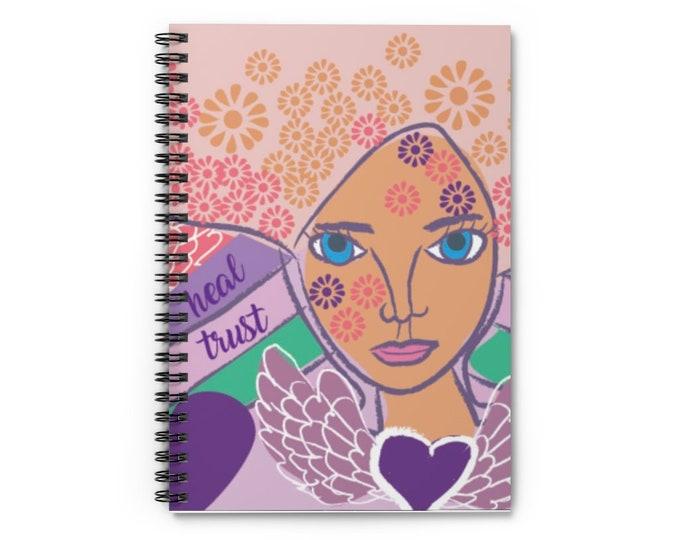 Original Art Work, Angel Art, Spiral Notebook - Ruled Line
