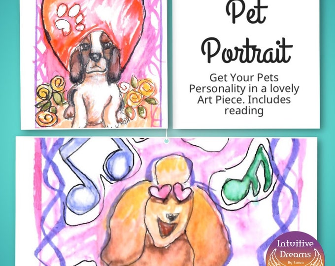 Featured listing image: Pet Portrait with 15 Min Voice Recorded Reading. Choose the Size, Watercolor with Mixed Media,  Art, Painting, Angel Reading, Pet Reading