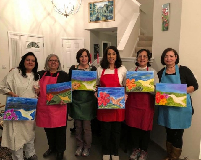 Wine and Canvas Painting Party at Your House! North West/South Burbs area of Schaumburg,IL to Woodridge,IL and Chicago,IL. Party of 6-20