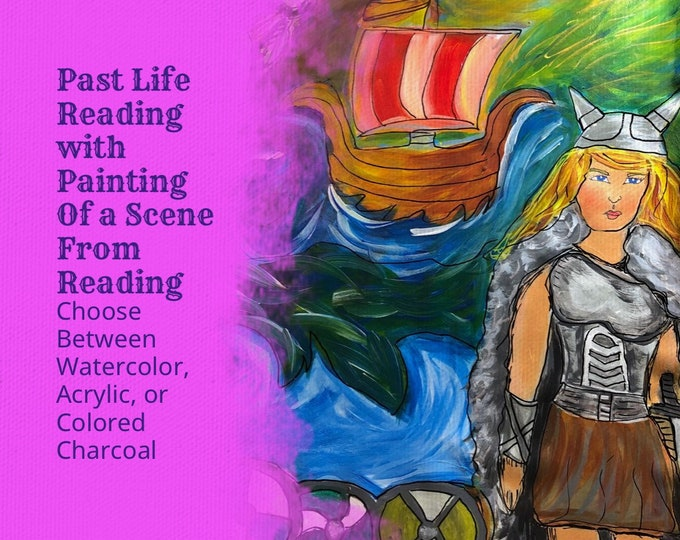 Past Life Reading with Personalized Painting or Colored Charcoal Drawing of a Scene From the Reading. Includes 15 min Voice Recording
